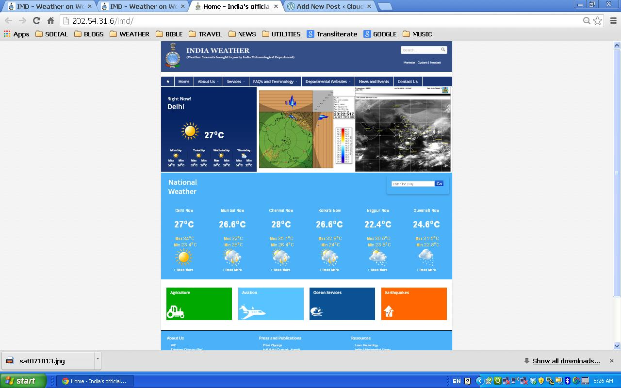 """India Weather"""": a new IMD web site   Cloud and Sunshine"""