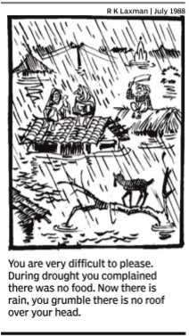 RKLaxman on Droughts and Floods